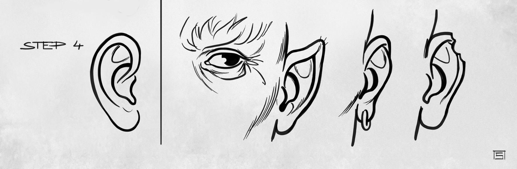 How To Draw A Comic Look Human Ear Free3dtutorials Com