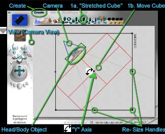 View Top - Rotating and moving the Stretched Cube up to the Head/Body object.