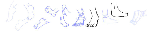 How to draw a feet – step by step tutorial